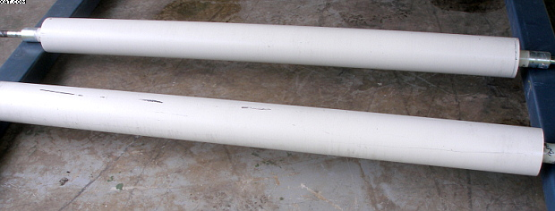 "STEEL Rolls, 76"" face x 6-3/8"" diameter, powder coated,"