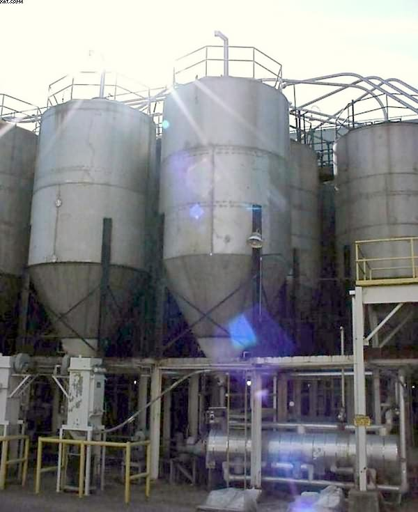 Storage Silos, stainless steel, ~75-100,000 lb capacity each,