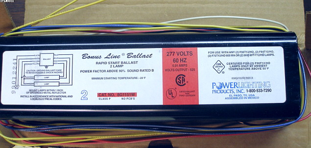 POWER LIGHTING PRODUCTS, Fluorescent Ballast,