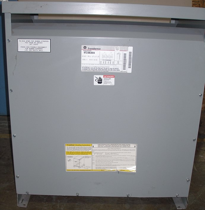 GENERAL ELECTRIC  Step down transformer, 75 KVA,